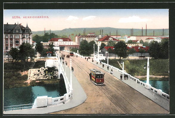 AK Gera, Partie an der Heinrichsbrücke mit Strassenbahn