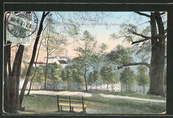 AK Gera, Blick vom Weinberg auf Schloss Osterstein