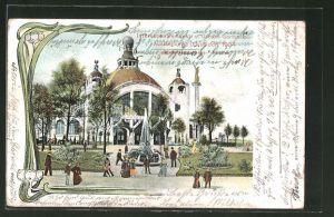 Lithographie Düsseldorf, Internationale Kunst- und Grosse Gartenbau-Ausstellung 1904, Sonderausstellungs-Pavillon