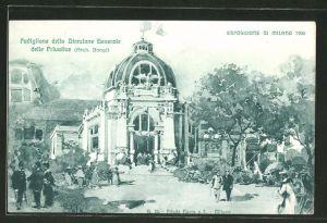 Künstler-AK Milano, Esposizione 1906, Padiglione della Direzione Generale delle Privative