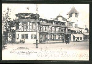 AK Düsseldorf, Industrie- & Gewerbe-Ausstellung 1902, Blick zum Cafe zur schönen Aussicht
