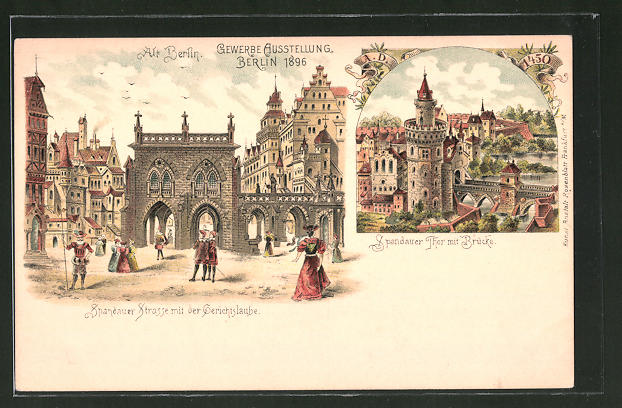 Lithographie Berlin Gewerbe Ausstellung 1896 Spandauer