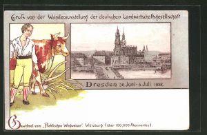 Lithographie Dresden, Wanderausstellung der deutschen Landwirtschaftsgesellschaft 1898, Ortsansicht