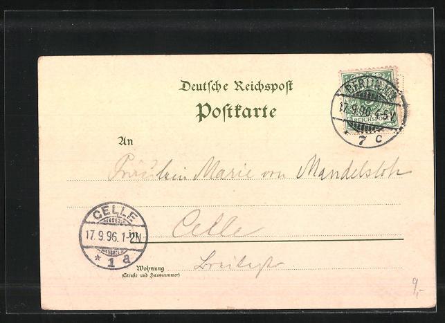 Lithographie Berlin Berliner Gewerbe Ausstellung 1896 Haupt