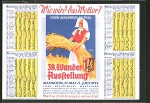AK Mannheim, 38. Wanderausstellung der Deutschen Landwirtschafts-Gesellschaft 31.05.-05.06.1932, Bäuerin mit Heu
