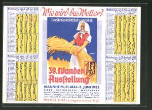 AK Mannheim, 38. Wander-Ausstellung der deutschen Landwirtschafts-Gesellschaft 31.05-05.06.1932, Bäuerin mit Heu