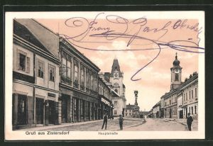 AK Zistersdorf, Hauptstrasse mit Geschäften