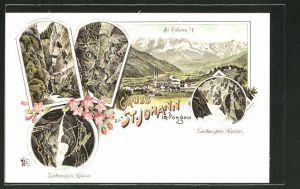 Lithographie St. Johann, Partien in der Liechtenstein-Klamm, Ortsansicht