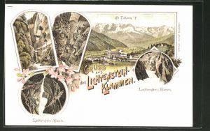 Lithographie St. Johann, Motive aus der Liechtenstein-Klamm, Ortsansicht