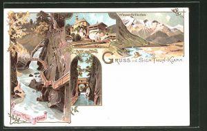Lithographie Kaprun, Partie in der Sigm. Thun-Klamm, Wasserfallboden