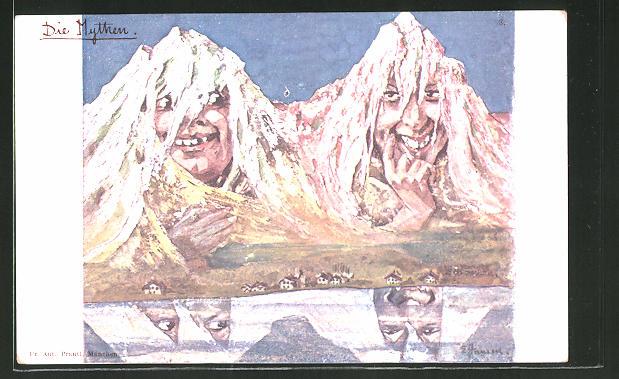 Künstler-Lithographie sign.E. Hansen / Emil Nolde: Die Mythen, Berg mit Gesicht / Berggesichter