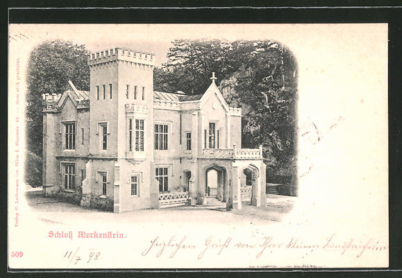 AK Grossau, Blick auf das Schloss Merkenstein