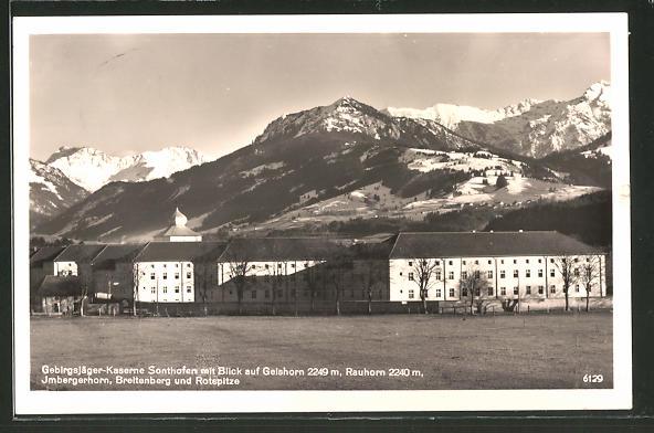 AK Sonthofen, Gebirgsjäger-Kaserne mit Blick auf Geishorn