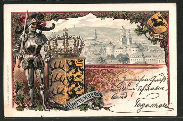 Passepartout-Lithographie Stuttgart, Ortsansicht aus der Vogelschau, Ritter mit Wappen Württembergs