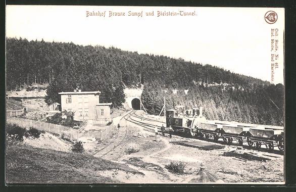 AK Blankenburg, Blick auf den Bahnhof Braune Sumpf und den Bielstein-Tunnel