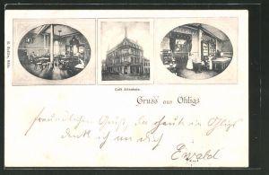 AK Ohligs, Cafe Altenheim, Innen- und Aussenansichten