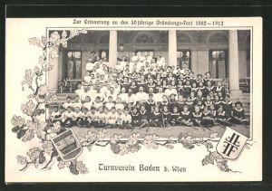 AK Baden, Erinnerung an das 50 jährige Gründungsfest 1862-1912 des Turnvereins