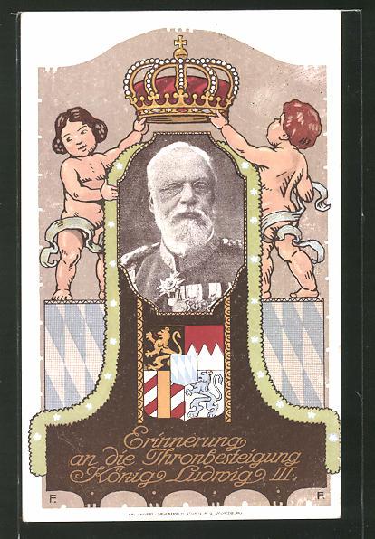 AK Ganzsache Bayern PP27D2: Thronbesteigung des Königs Ludwig III. von Bayern