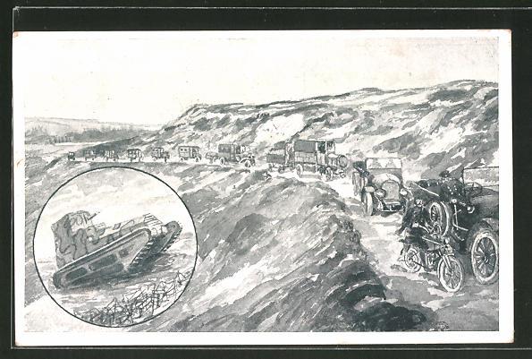 AK Dresden, Verkehrstruppen-Gedächtnistag 1922, Panzer und Militärfahrzeuge