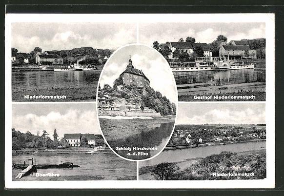 AK Niederlommatzsch, Überfähre, Schloss Hirschstein, Gasthof Niederloomatzsch