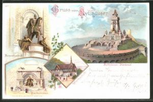 Lithographie Kyffhäuser, Reiterstandbild, Barbarossa, Wirtschaft