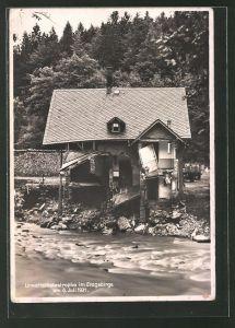 AK Antonsthal Zerstörtes Haus nach dem Unwetter am 06. Juli 1931
