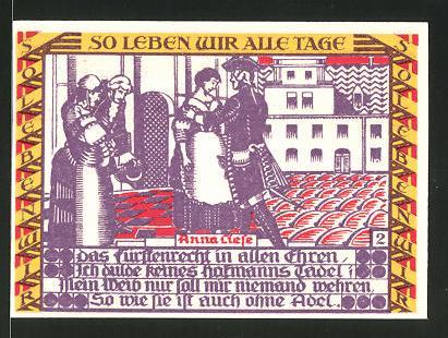 Notgeld Dessau 1921, 50 Pfennig, Soldaten mit dem alten Dessauer, Soldat verabschiedet sich von Liebchen