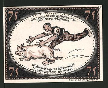 Notgeld Diepholz 1921, 75 Pfennig, Aussichtsturm, Bauer jagt Schwein