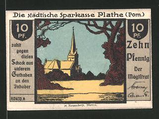 Notgeld Plathe in Pommern, 10 Pfennig, Kirche, Stadtwappen