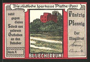 Notgeld Plathe in Pommern, 50 Pfennig, Blücherruine, Stadtwappen