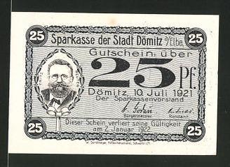 Notgeld Dömitz an der Elbe 1922, 25 Pfennig, Fritz-Reuter-Porträt, Fritz-Reuter-Gefängnis