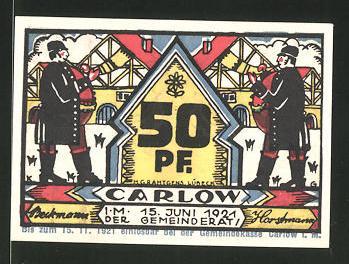 Notgeld Carlow in Mecklenburg 1921, 50 Pfennig, Männer blasen das Horn, Stadtwappen