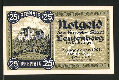 Notgeld Leutenberg in Thüringen 1921, 25 Pfennig, Stadtwappen und Schloss, Stadtwappen