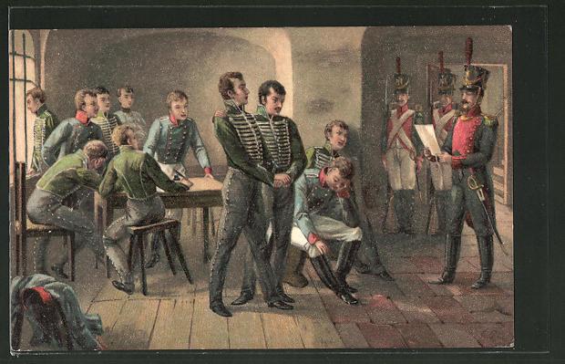 AK Serie: Befreiungskriege, Verkündung des Todesurteils an die elf Schill'schen Offiziere 1809
