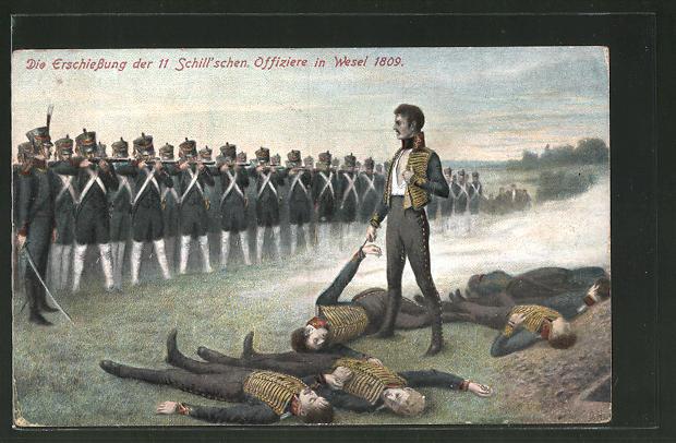 AK Serie: Befreiungskriege, Heldentod der 11 Schill'schen Offiziere 1809