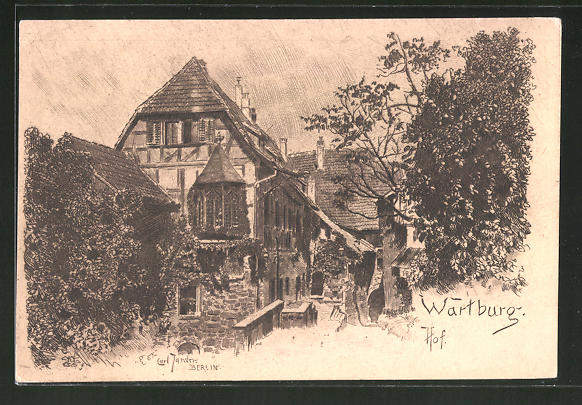Künstler-AK Angelo Jank: Wartburg, Hof