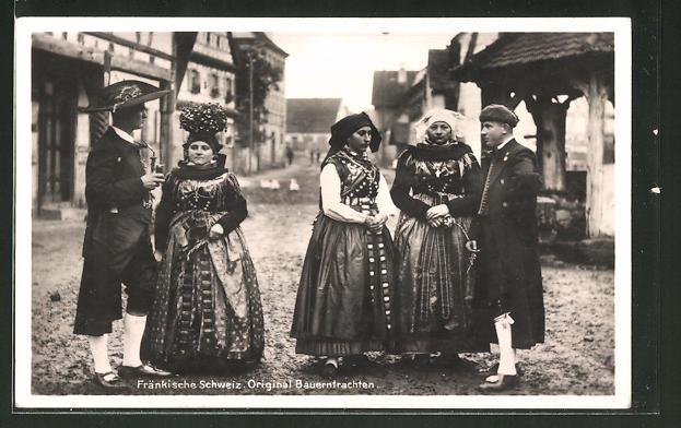 AK Serie: bayerische Tracht, Bäuerinnen in Tracht aus der fränkischen Schweiz