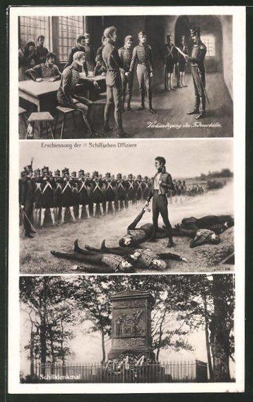 AK Serie: Befreiungskriege, die Verkündung und Erschiessung der 11 Schill'schen Offiziere, Schilldenkmal