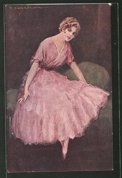 Künstler-AK Tito Corbella: Mädchen im Kleid
