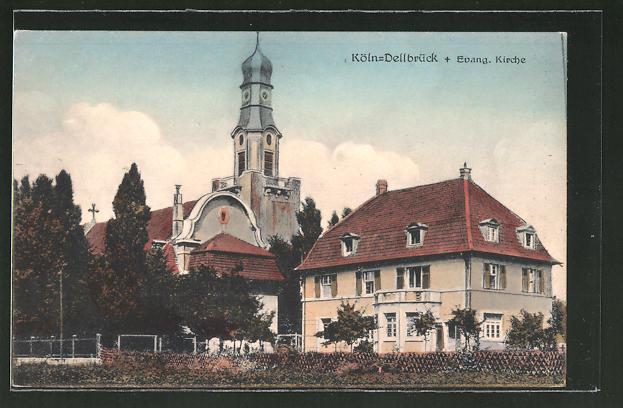 AK Köln-Dellbrück, Blick auf die evang. Kirche