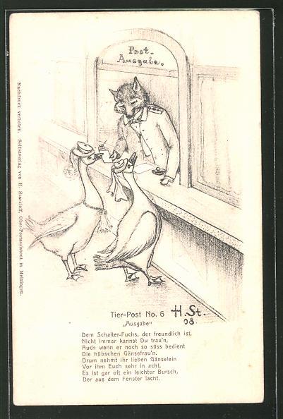 Künstler-AK H. Starkloff: Tier-Post, vermenschlichter Fuchs in der Post Ausgabe