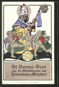 Künstler-AK Otto Obermeier: St. Benno-Bier aus der Aktienbrauerei zum Löwenbräu in München