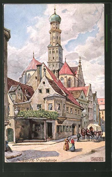 Künstler Augsburg künstler ak richard wagner augsburg strassenpartie mit st