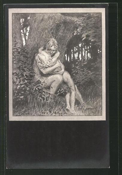 Künstler-AK Fidus: Mutter hält ihr Kind im Wald im Arm