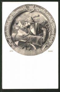 Künstler-AK Heinz Schiestl: Soldat mit einer Kanone