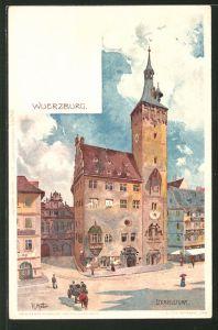 Künstler-AK Karl Mutter: Würzburg, Strassenpartie am Eckardsturm