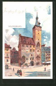 Künstler-AK Karl Mutter: Würzburg, Blick auf den Eckardsturm