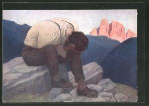 Künstler-AK Thomas Walch: Geknechteter Mann weint auf den Klippen