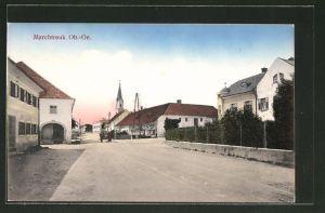 AK Marchtrenk, Ortspartie mit Kirchturm