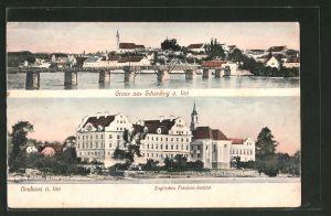 AK Schärding am Inn, Teilansicht mit Brücke, Englisches Fräulein-Institut